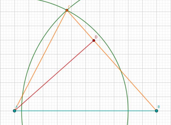 Dreieck ABC und AD mit Punkt D