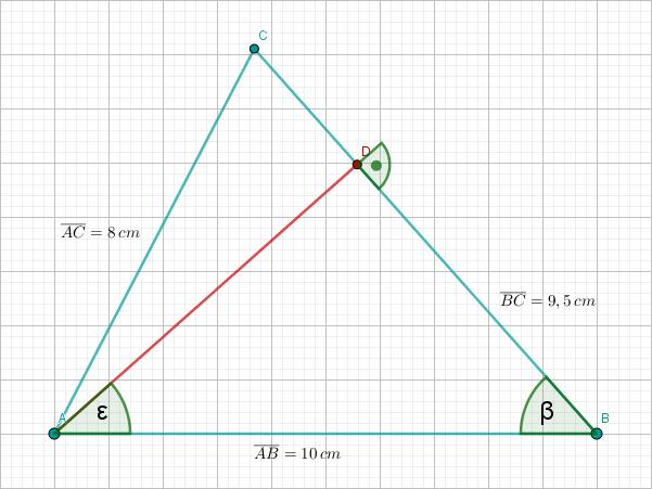Winkel Epsilon und Beta in Dreiecken ABD und ABC