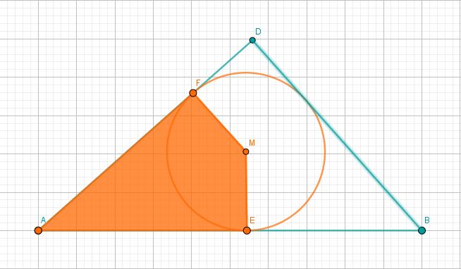 Innenkreis des Dreiecks ABD und Viereck AEMF in ABD