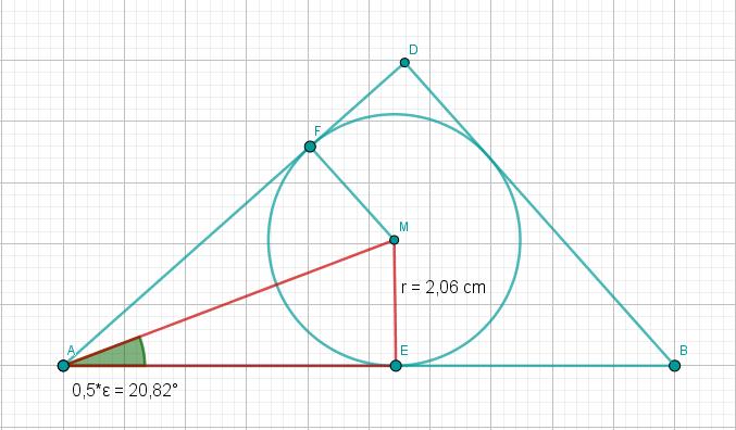 Dreieck ABD mit Innenkreis, Dreieck AEM mit Winkel EAM
