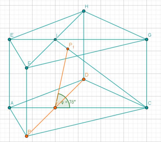 In das Prisma werden die Punkte K und P1 eingezeichnet, zudem werden sowohl B und K und K und D, als auch K und P1, verbunden