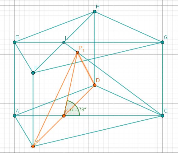 Prisma, in dem nun sowohl P1 und D, als auch B und P1 miteinander verbunden werden