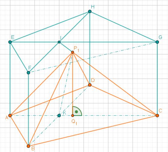 In Prisma ist die Pyramide ABCDP1 eingezeichnet
