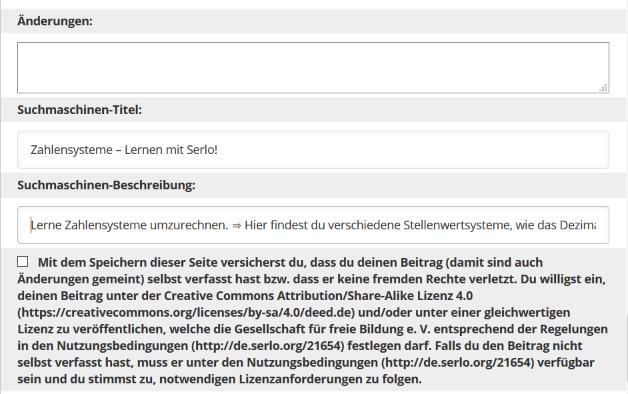 Dieser Screenshot zeigt das Eingabefeld Suchmaschienenoptimierung im Editor auf serlo.org