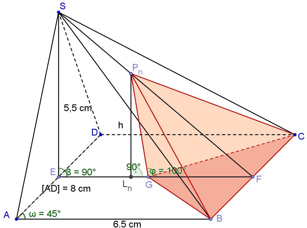 Pyramiden ABCDS und GBCPn