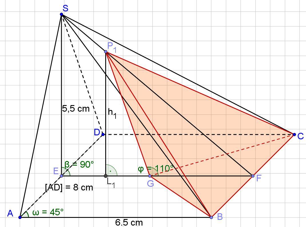 kleine Pyramide BCGP1 in der großen Pyramide ABCDS