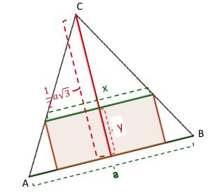 Rechteck im gleichs. Dreieck