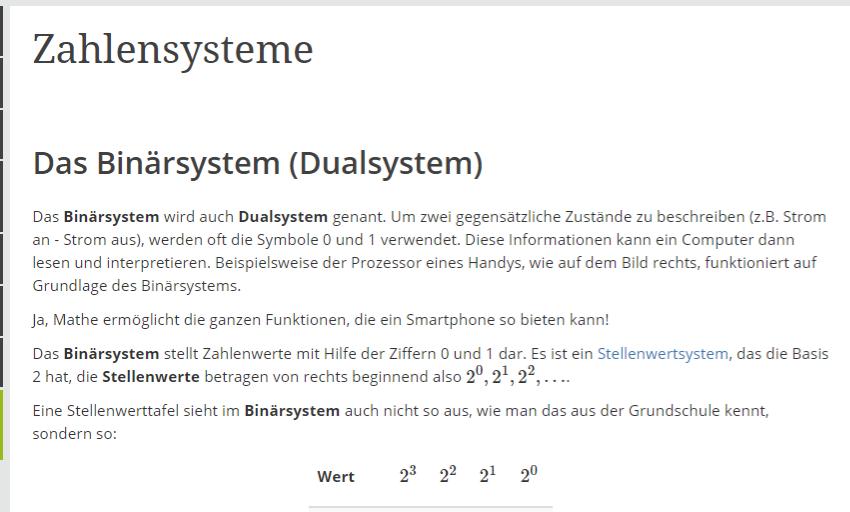 Screenshot des Artikels Zahlensysteme, SEO