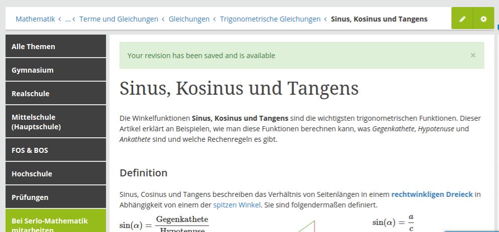 Screenshot des Artikels Sinus, Kosinus und Tangens, SEO