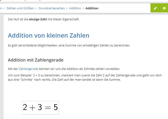 Screenshot des Artikels Addition von kleinen Zahlen, SEO