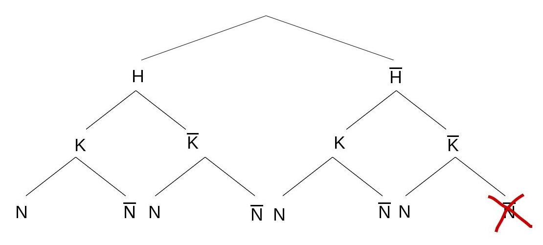 Baumdiagramm ohne eingetragene Wahrscheinlichkeiten