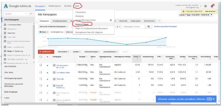 Dieses Bild zeigt zeigt den zweiten Schritt der Arbeit mit dem Keywordplaner von Google AdWords