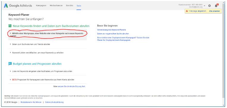 Dieses Bild zeigt zeigt den dritten Schritt der Arbeit mit dem Keywordplaner von Google AdWords