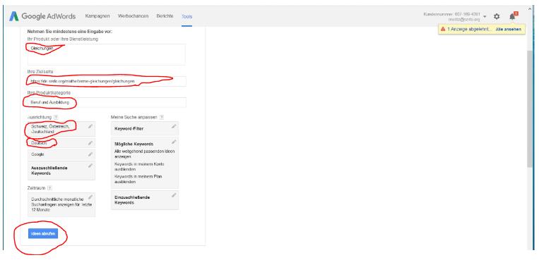 Dieses Bild zeigt zeigt den achten Schritt der Arbeit mit dem Keywordplaner von Google AdWords