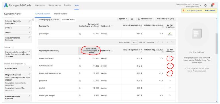 Dieses Bild zeigt zeigt den elften Schritt der Arbeit mit dem Keywordplaner von Google AdWords