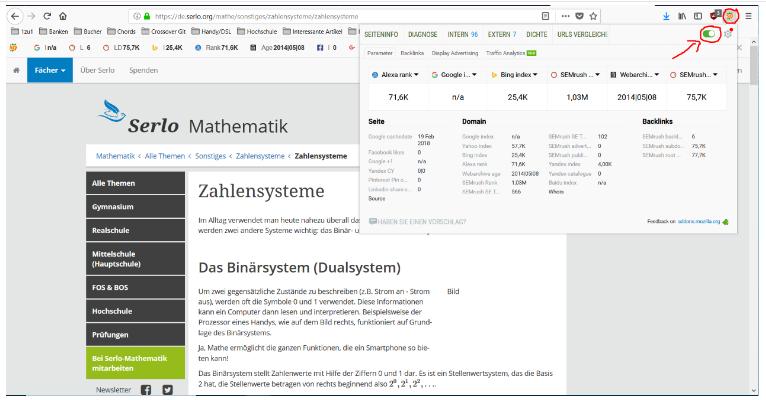 Das Bild zeigt die das Vorgehen der Überprüfung nach der SEO Optimierung durch die Installation des Browser AdOn SEO Quake