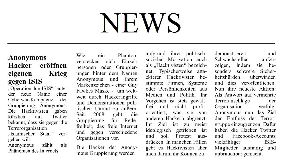 Zeitungsartikel Cybersecurity