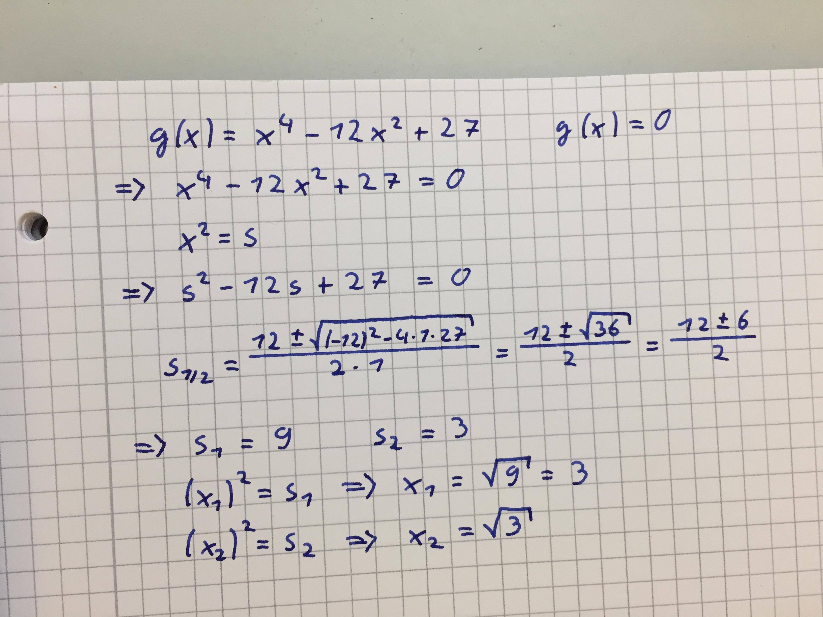 Nullstellenbestimmung mittels Substitution