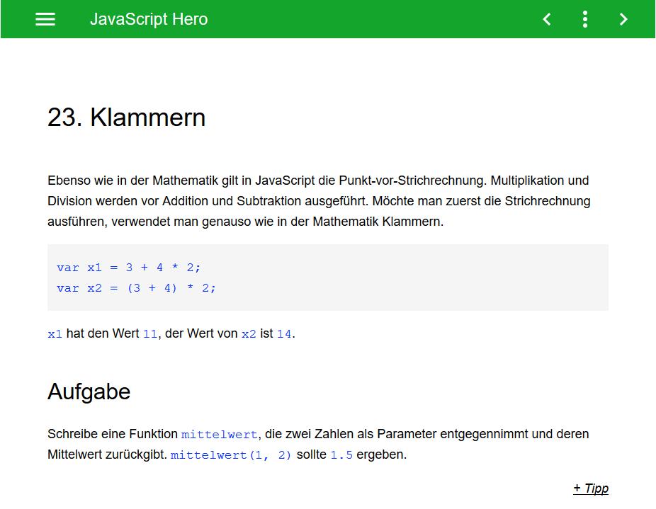 JavaScript lernen mit JS Hero