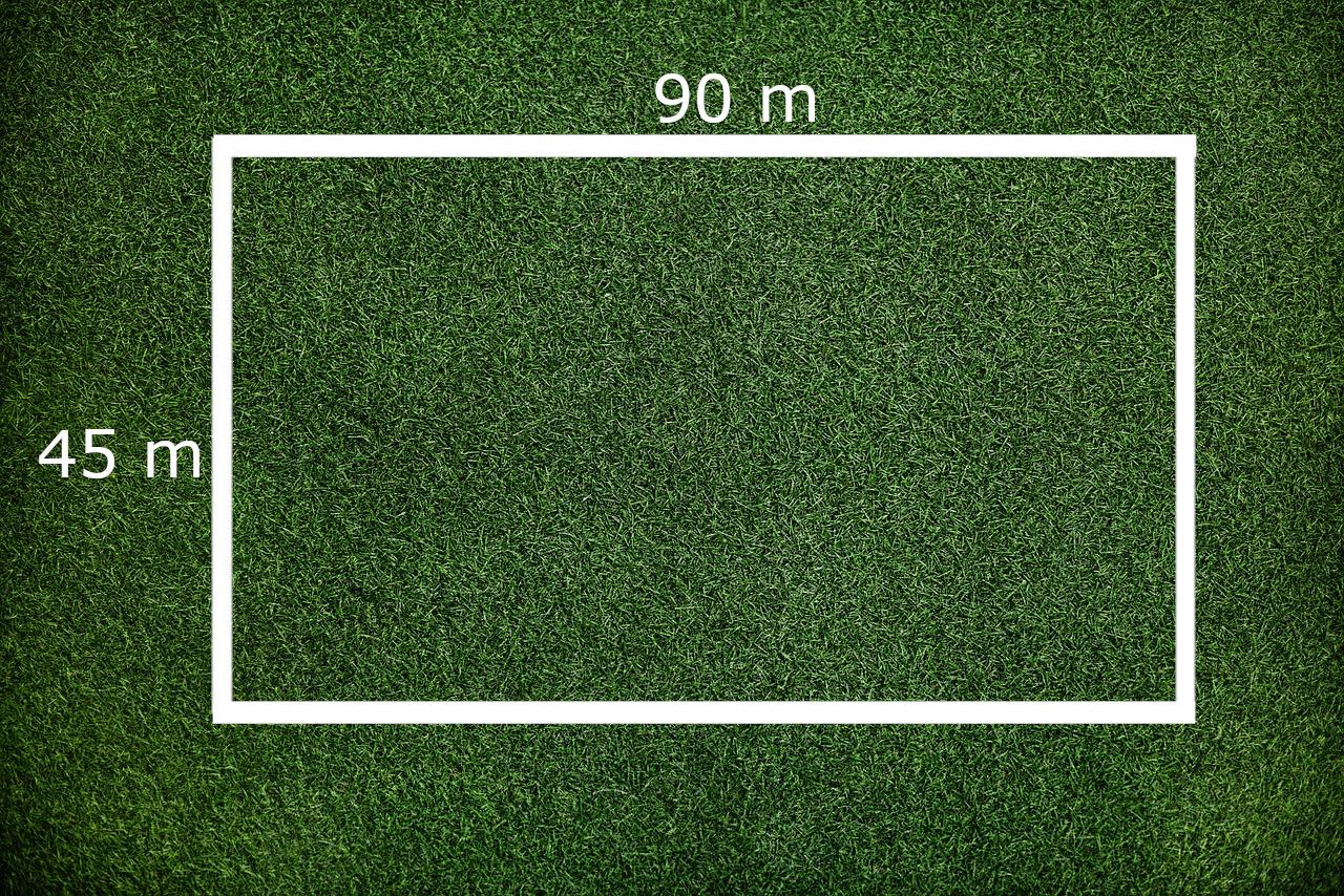 Rasenfläche: Länge 90 Meter, Breite 45 Meter