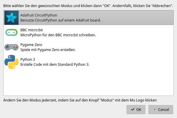 """Mu-Editor """"Modus wählen""""-Dialog"""
