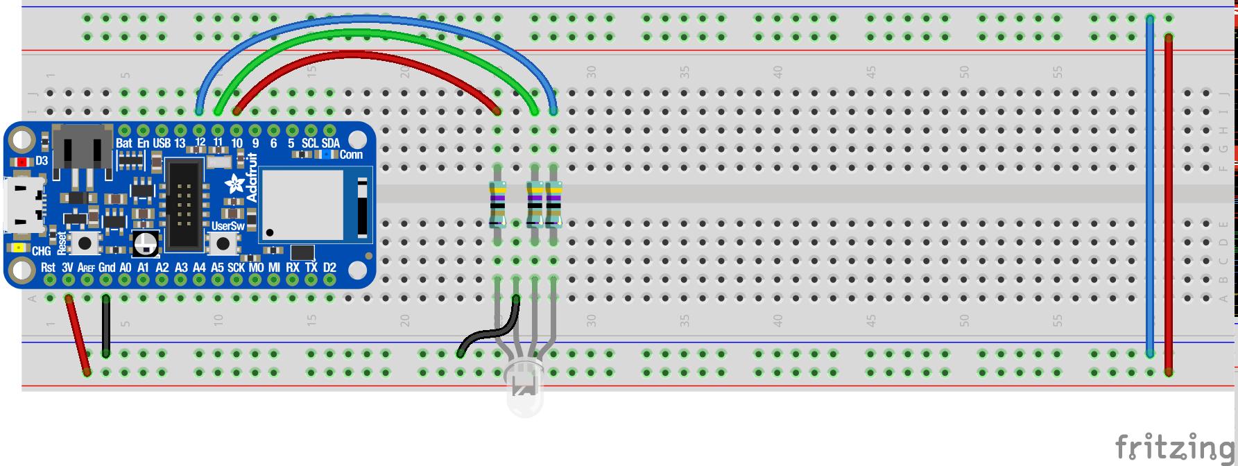 Schaltplan mit RGB-LED