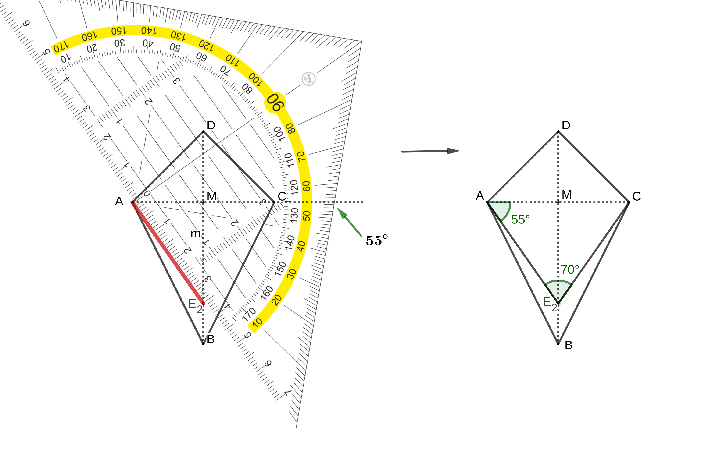 Konstruktion Drachenviereck mit 70° Winkel.