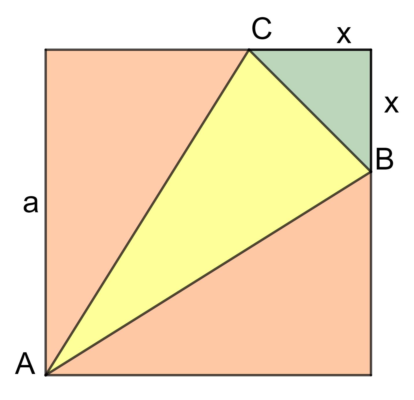 Quadrat in Dreiecke aufgeteilt