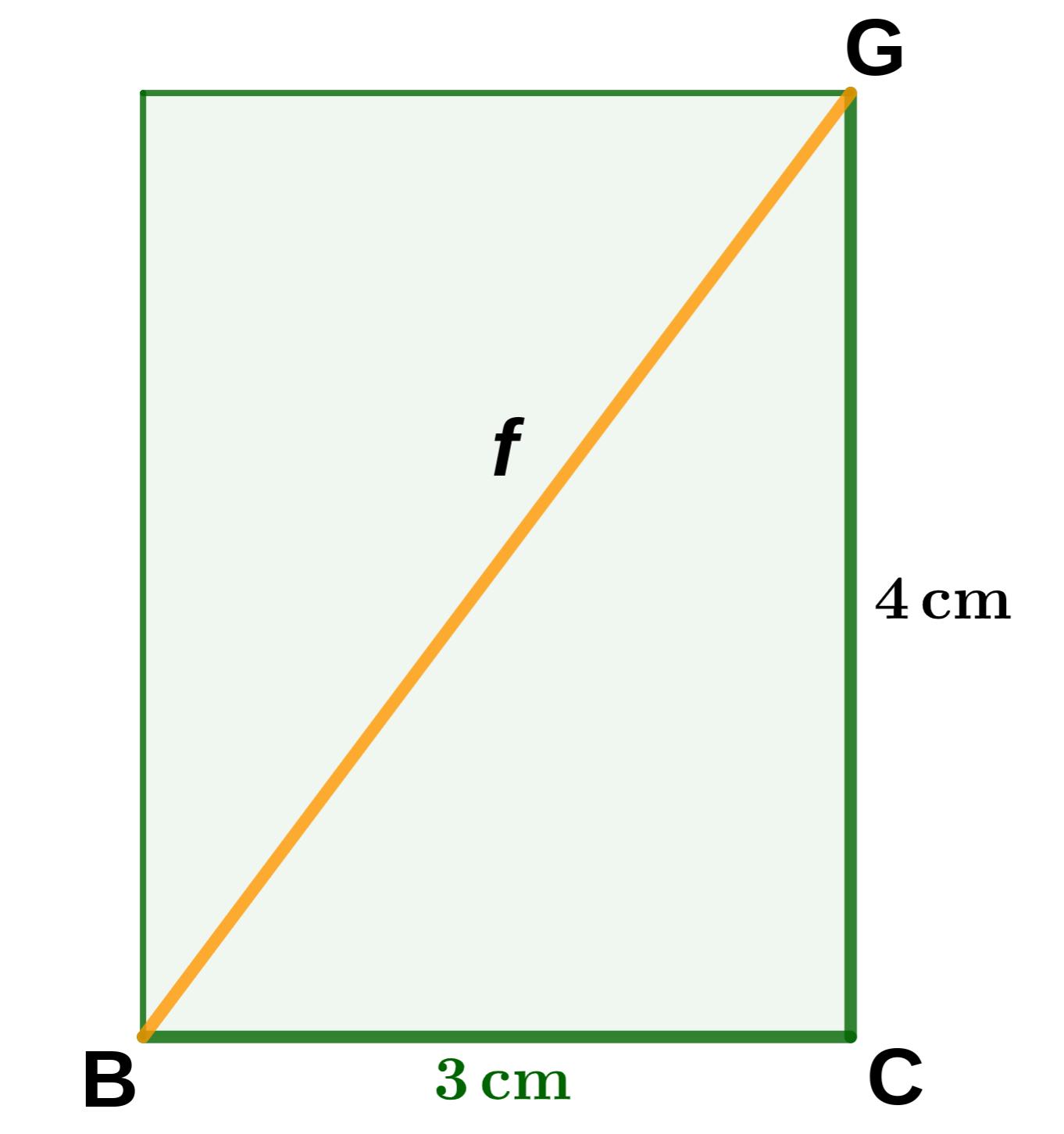 Seitenfläche mit Flächendiagonale f