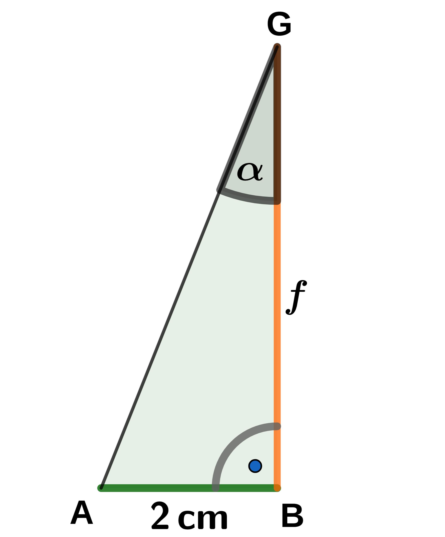 Skizze Dreieck - Winkelberechnung mit Tangens