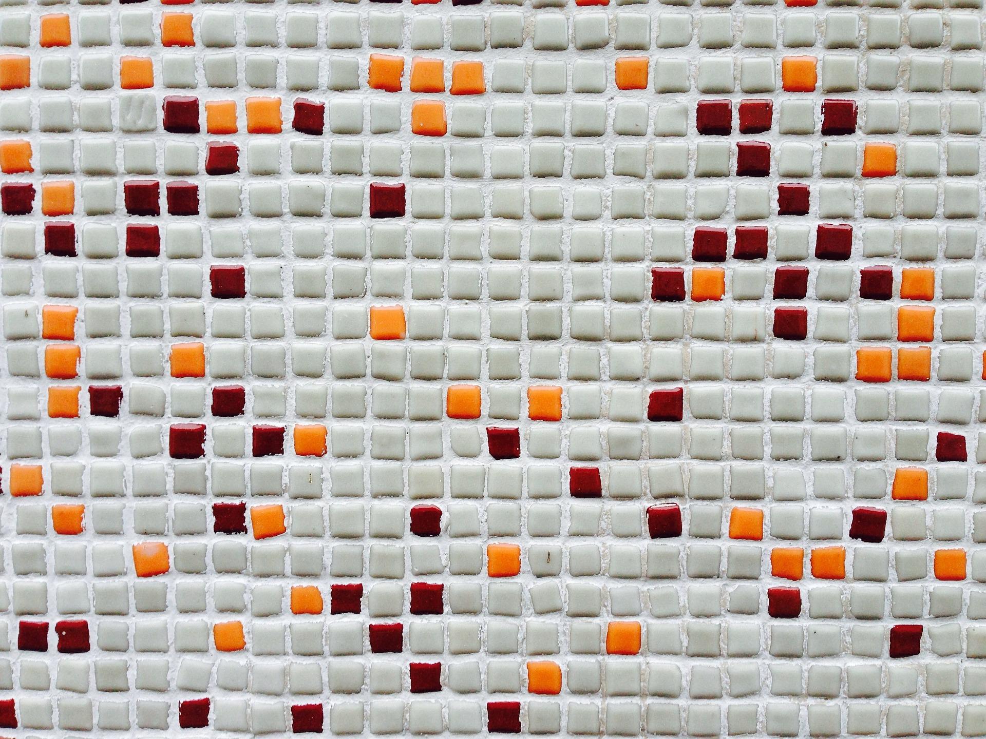 Mosaik in weiß, rot und orange