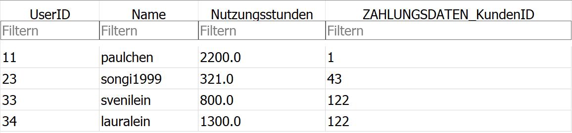 Ausschnitt Streamingdatenbank NUTZER