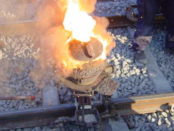 Thermitverfahren zum Verschweißen von Gleisen
