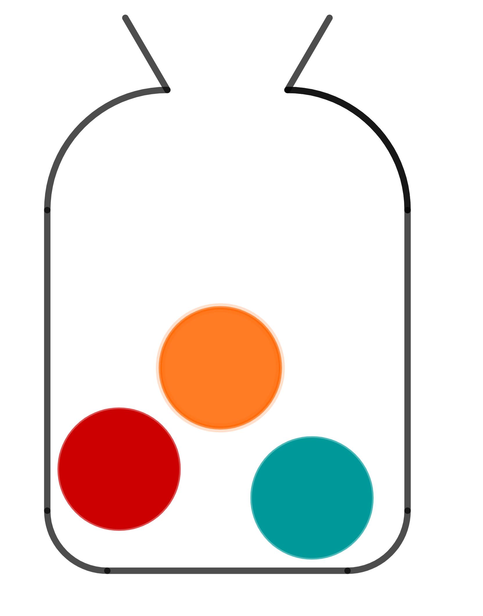 Urne mit einer roten, einer blauen und einer gelben Kugel