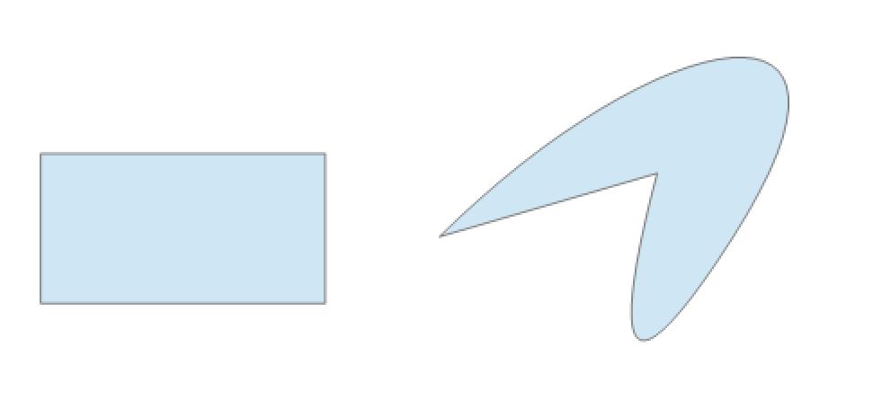 Ein Rechteck (links) und ein Farbklecks (rechts)