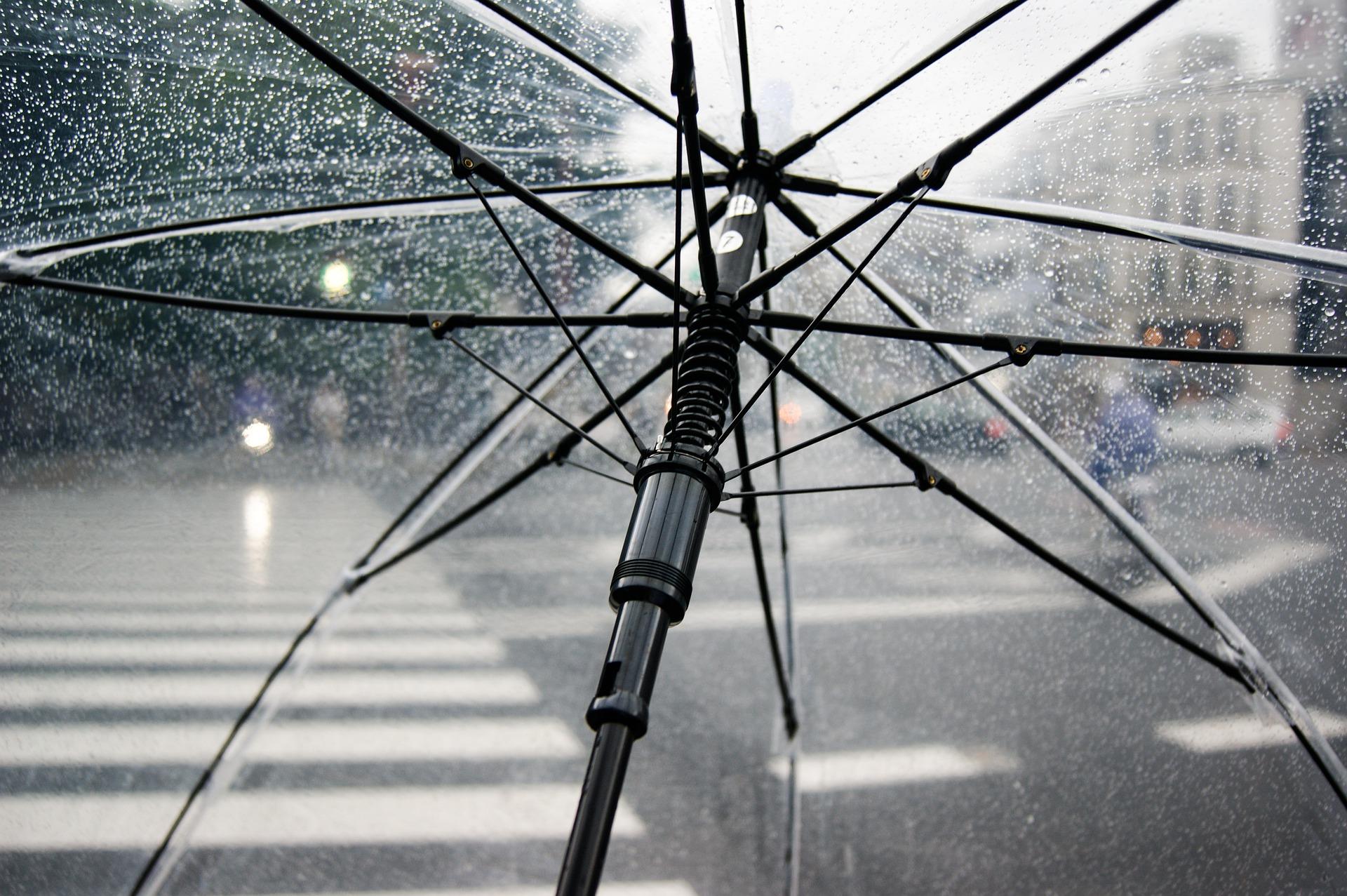 "Durchsichtiger Regenschirm als Symbol für ""Es regnet gerade"" https://pixabay.com/de/photos/regenschirm-regen-wetter-k%C3%A4lte-4425160/"
