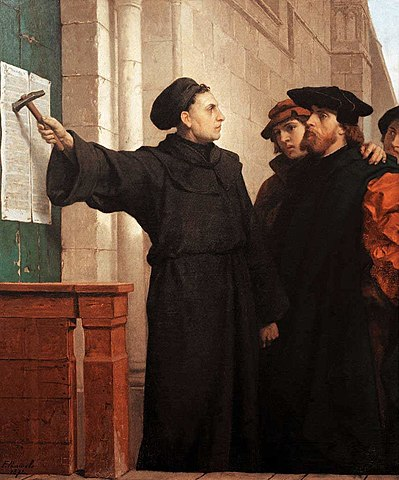 Ferdinand Pauwels: Luther hammers his 95 theses to the door