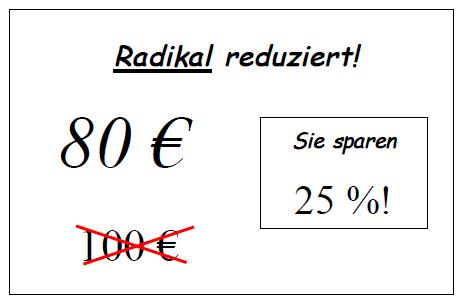 Preistafel zur Prozentrechnung