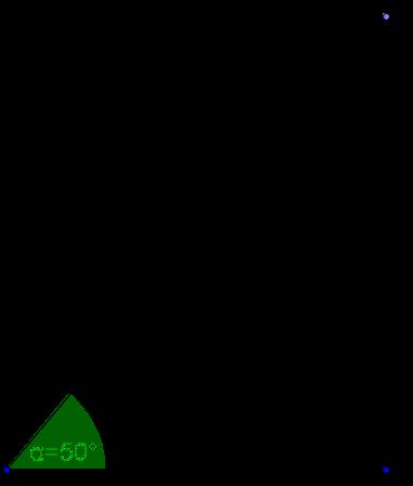 Skizze zur Aufgabe: rechtwinkliges Dreieck mit 50°-Winkel