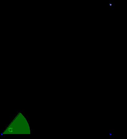 Skizze zur Aufgabe: rechtwinkliges Dreieck mit Hypotenuse 100m. Kathete 20m