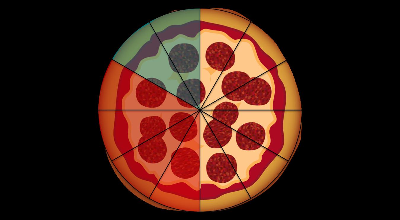 2/12 + 4/12 als Pizza