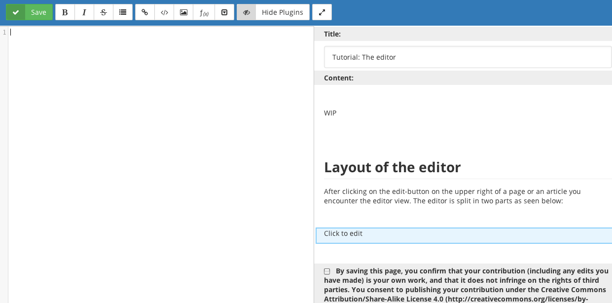Layout of the Editor