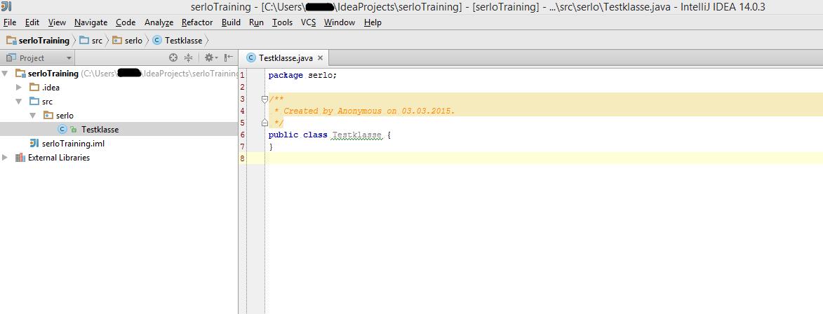 Screenshot zu einer angelegten Beispielklasse auf Java