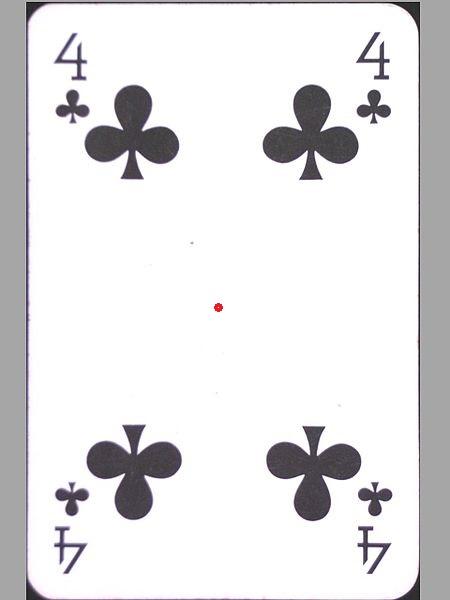 Spielkarte einer Kreuz 4