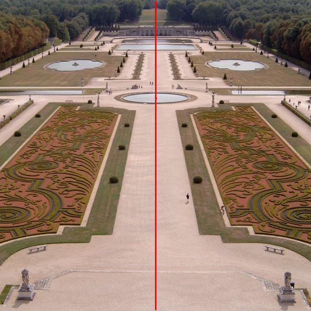Symmetrieachsen eines Gartens - Achsensymmetrie
