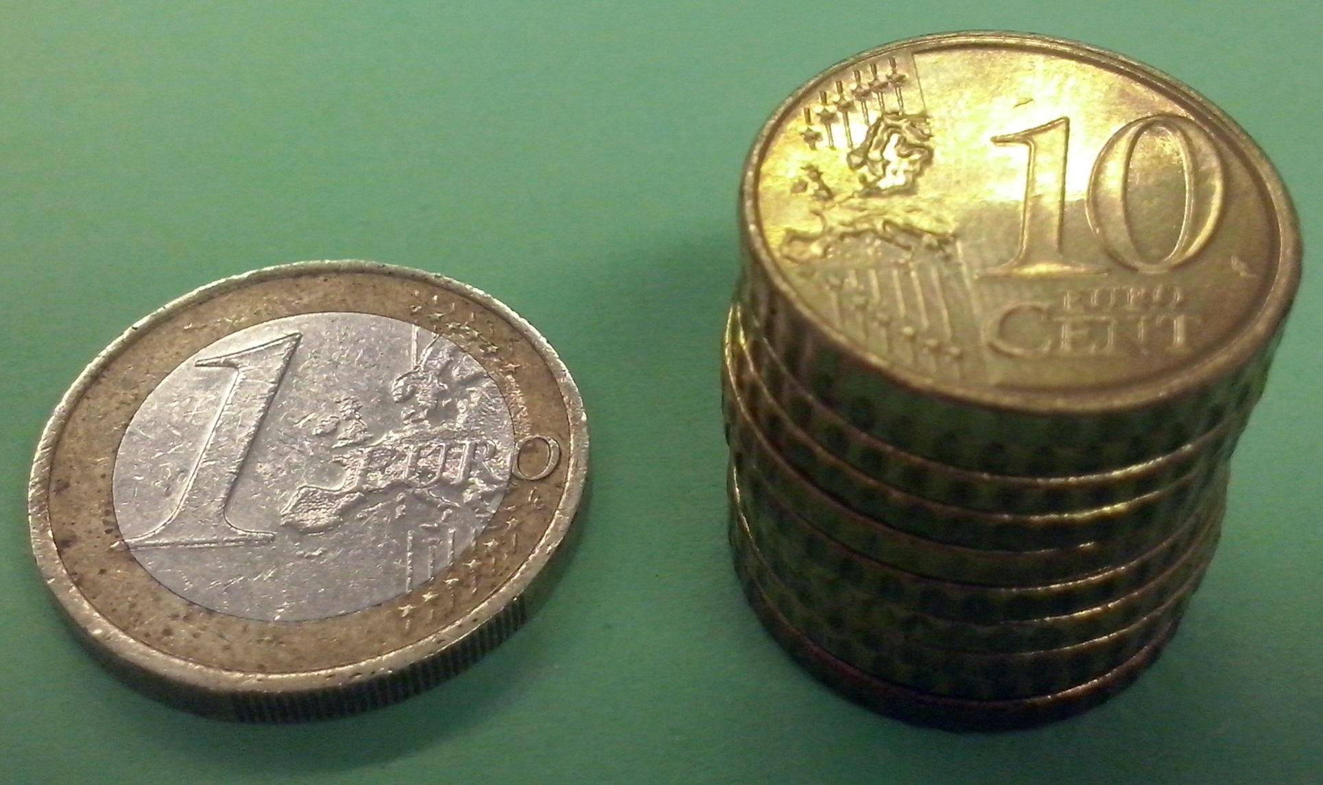 1€-Stück und 10-Cent-Stücke
