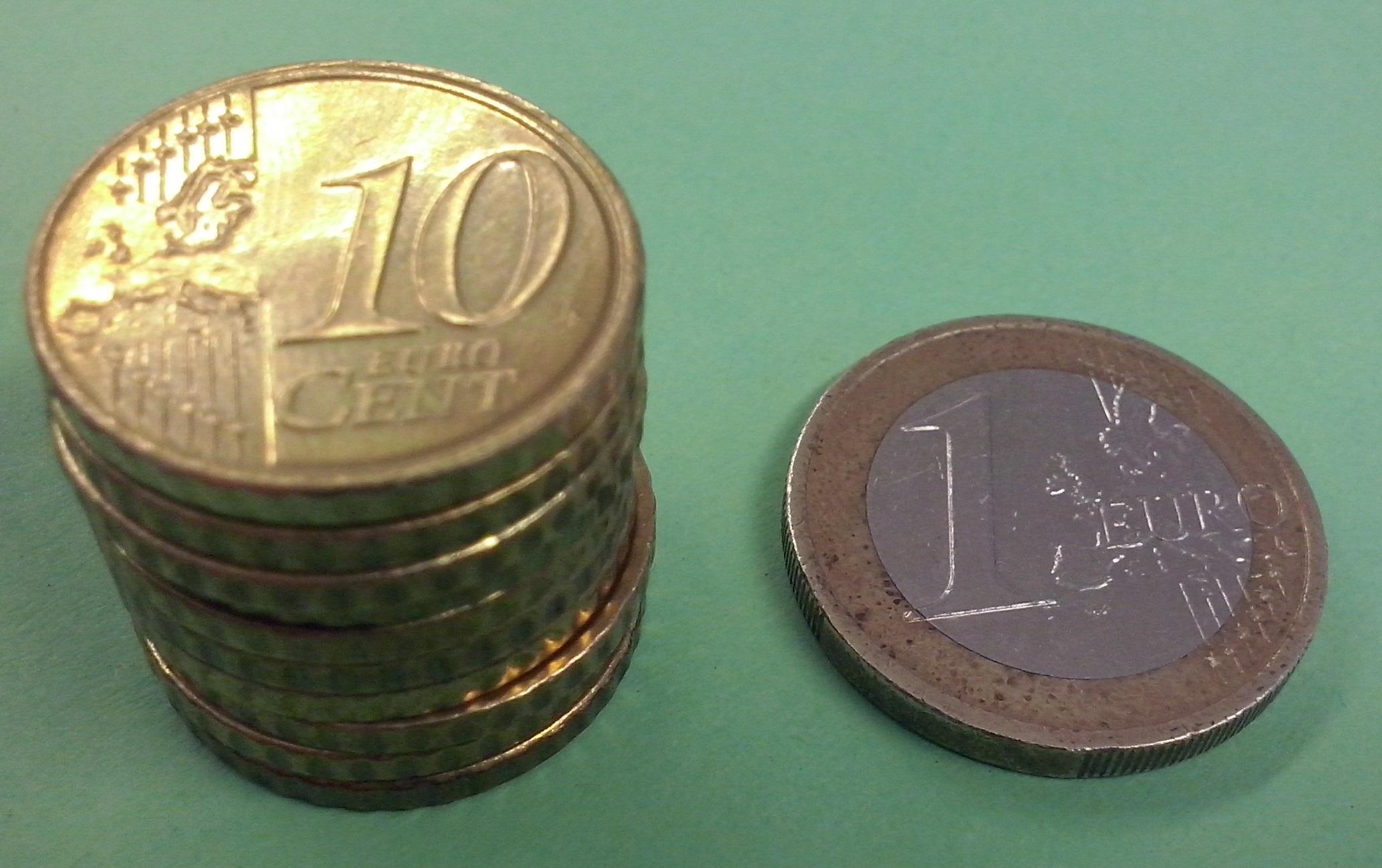 10-Cent-Münzen und 1-Euro-Münze