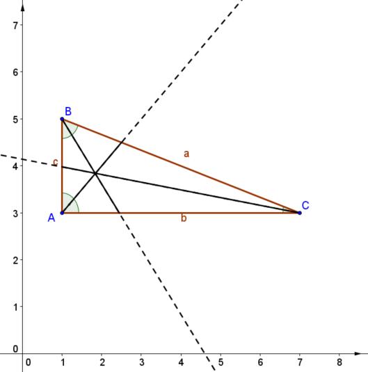 Dreieck mit Winkelhalbierenden