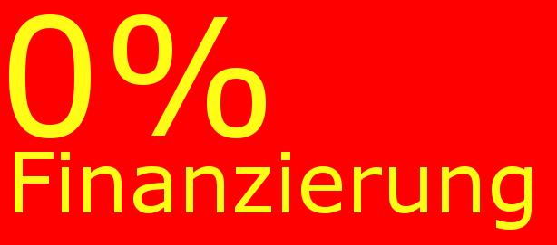 Bild mit der Aufschrift 0%-Finanzierung