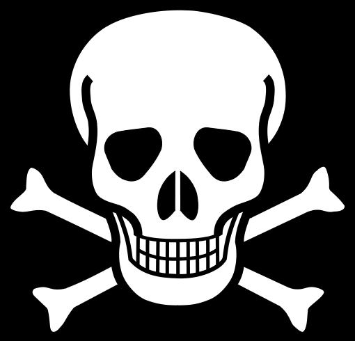 Piktogramm für Gift, Totenkopf vor gekreuzten Knochen